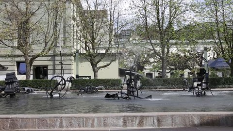 BASEL - APRIL 16: Tingueli fountain with moving mechanism, shot on April 16, 2013 in Basel, Switzerland