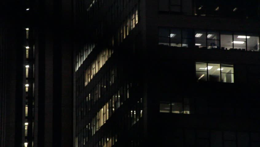 New York Office Buildings at night circa 2013
