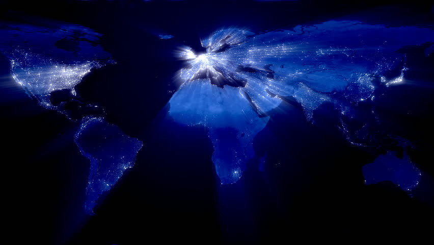 Network lines lighting up world map 4k blue version very world at night with ray of lights loop hd stock footage clip gumiabroncs Choice Image