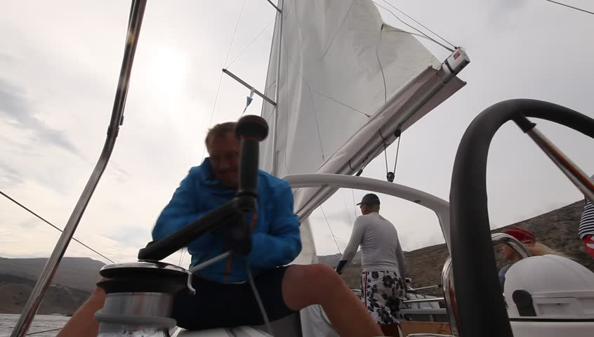 PELOPONNESE, GREECE- MAY 9: Unidentified sailor participates in 9th spring sailing regatta Ellada 2013, May 9, 2013 in Peloponnese, Greece.