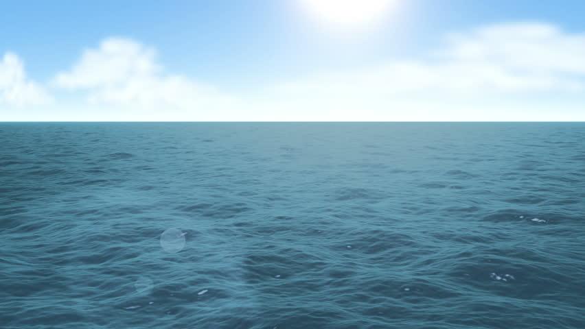 Flying over calm ocean blue sky and sun. HD 1080 seamless loop #3969487