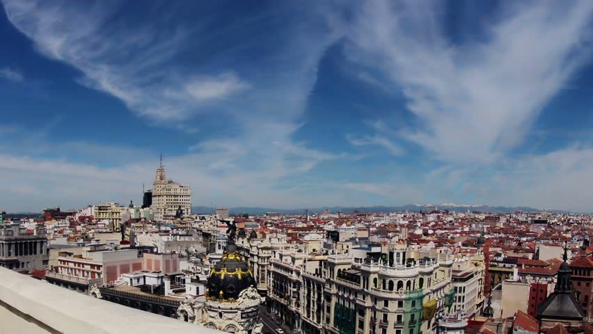 Spain. Madrid. A view of the Metropolis building from the top. Timelapse