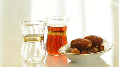 Black tea and arabic dates
