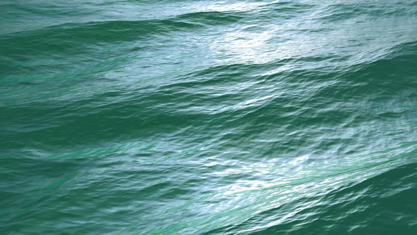 Large waves, Diagonal Fly over green sea or ocean surface, loopable. (HD, high definition 1080p, seamless loop). Great background for movie credits