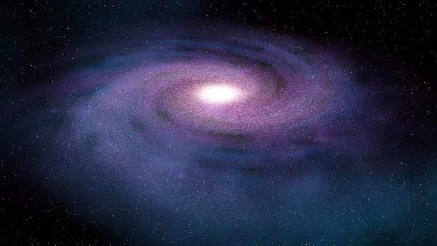 Blue/purple Spiral Galaxy in deep space.  Seamless loop.
