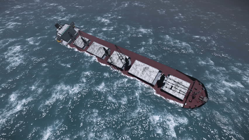 Cargo ship sinking in the ocean  #4007224