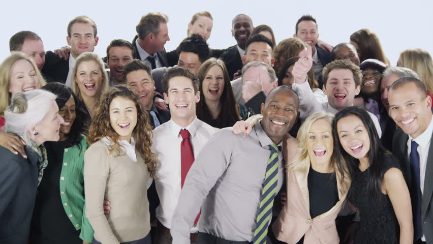 Portrait of a large group of happy and diverse business people who are standing together, isolated on white in a studio shot. They put their their arms around each other and smile. In slow motion. | Shutterstock HD Video #4010638