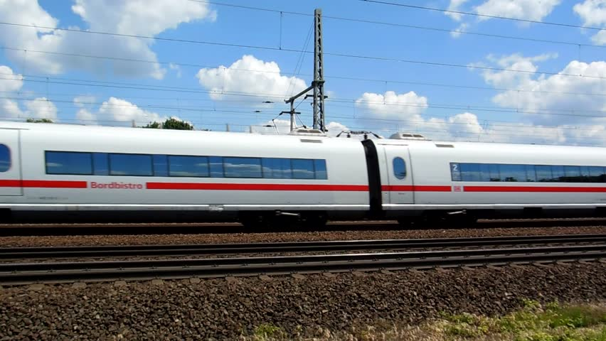 Cologne - circa june 2013 - German high speed train travels on the newly-built railway line for high speed trains between Cologne and Bonn in june 2013.