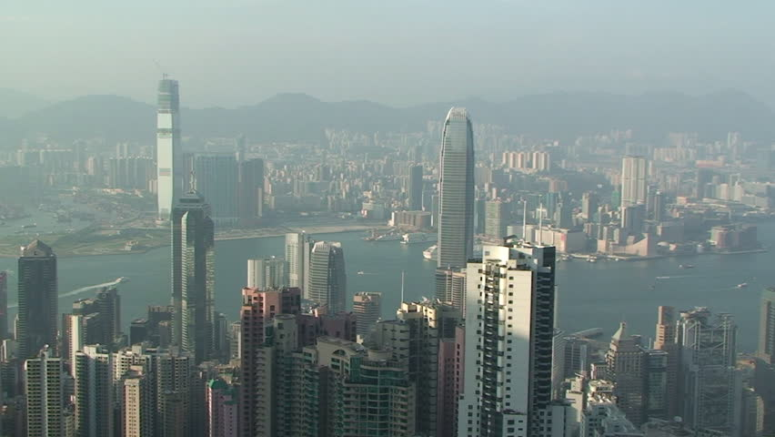Pan across Hong Kong skyline