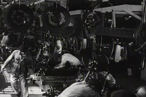 1930s - Very good shots of Ford factory workers assembling automobiles in 1932.