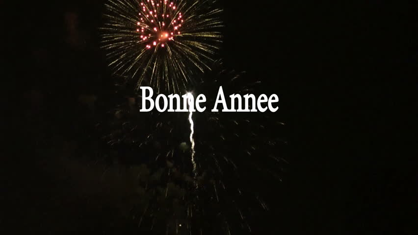 french happy new year animation bonnee annee with fireworks display in the background