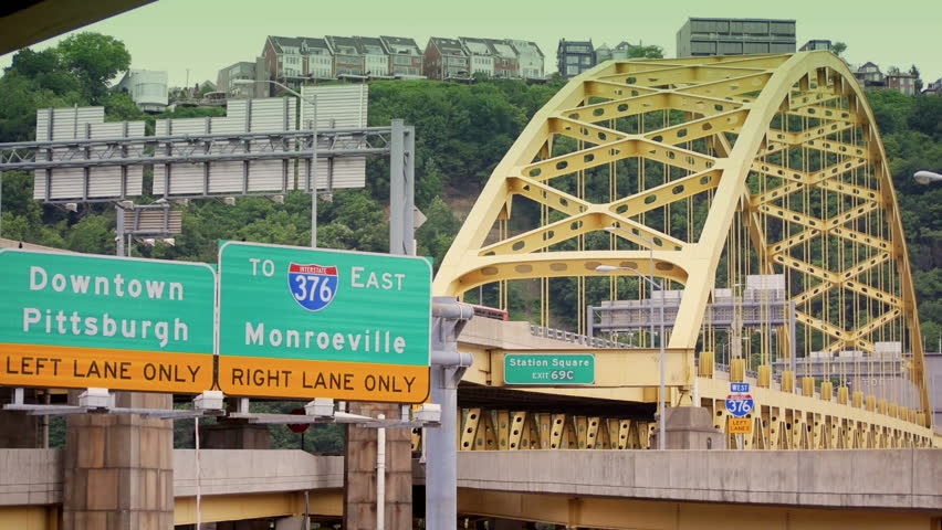 The Fort Pitt Bridge in downtown Pittsburgh, Pennsylvania.