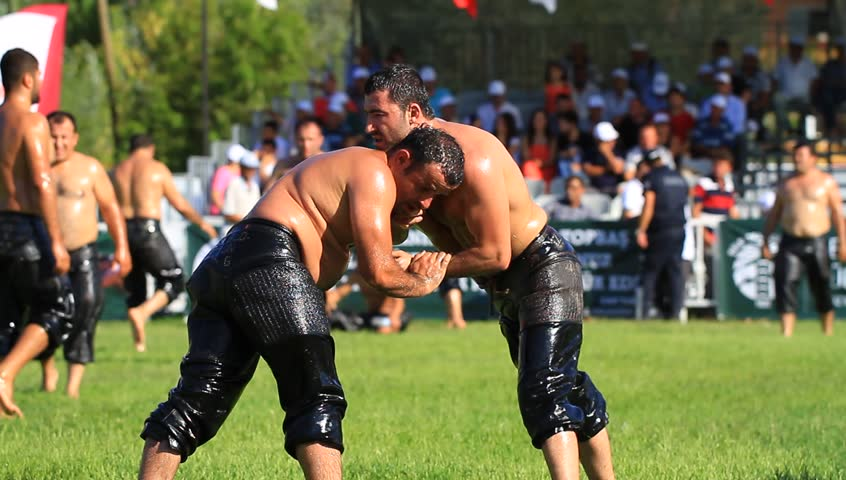 ISTANBUL - AUG 24: 8th Sile Annual Turkish Oil Wrestling Event on August 24, 2012 in Istanbul, Turkey. Grease wrestling is the oldest running sporting competition in world.