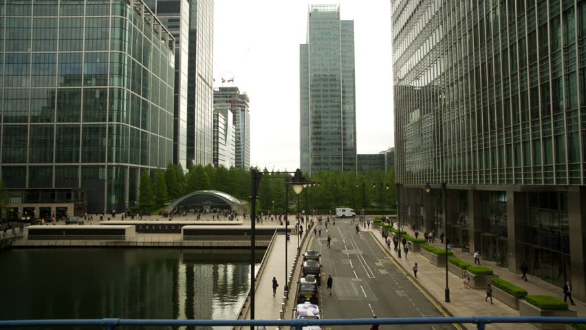 canary wharf in london, shot from the moving docklands light railway