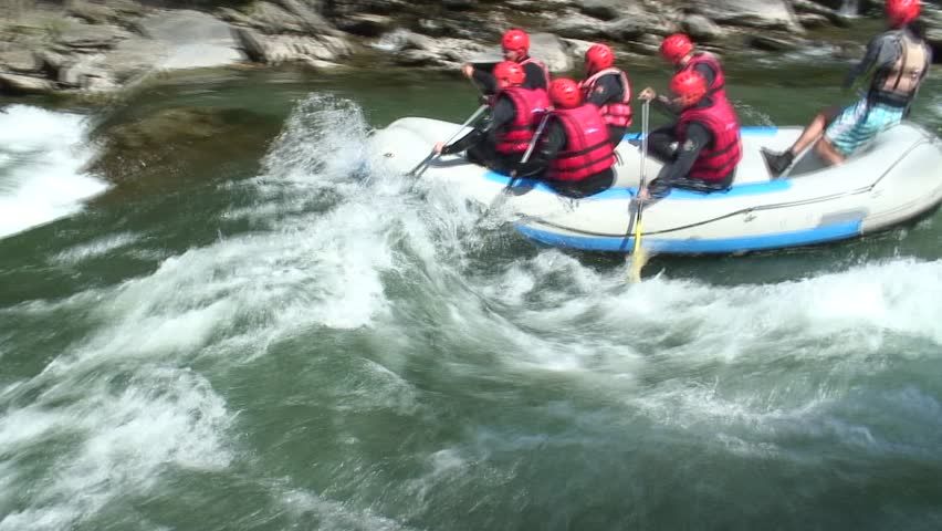 Rafting on the Noguera Pallaresa - Pyrenees in Spain. Tripod. 1080i, not rendered.