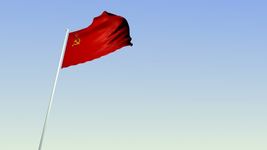 Soviet Flag. Camera moves up to and then stops at the flag of the former Soviet Union.
