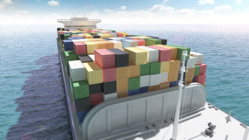 Cargo container ship in a sea #4128964