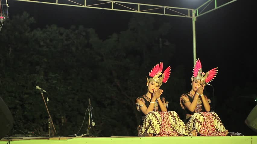 YOGYAKARTA, INDONESIA - CIRCA 2012: Traditional Javanese Dance, perform from senior high school student at Public event.