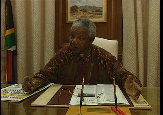 PRETORIA, SOUTH AFRICA, APRIL 1995 - Nelson Mandela at at the Presidential Desk speaks about the democratic tradition of the ANC.