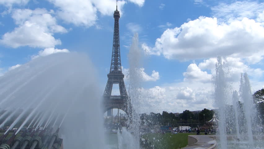 The Eiffel Tower And Fountain, Paris France