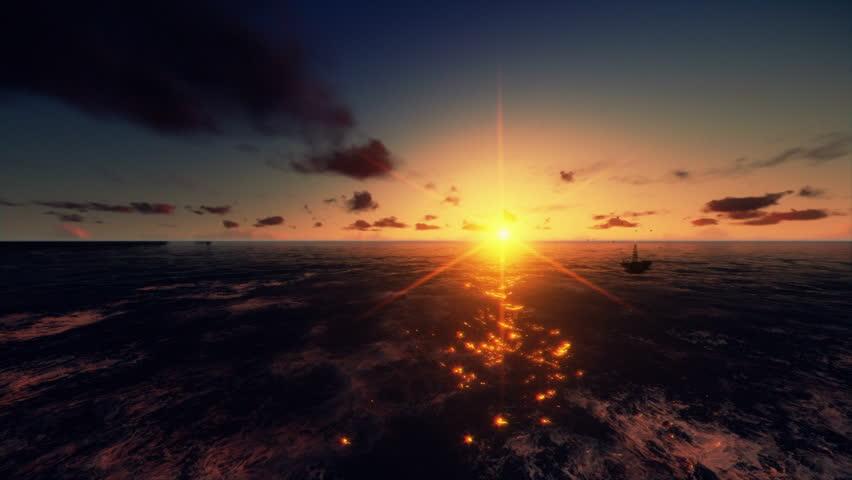 Oil Rig in ocean at sunrise, flight across   Shutterstock HD Video #4187824