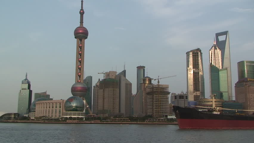 Shanghai, March 2009: Large ship sails through downtown Shanghai part 2