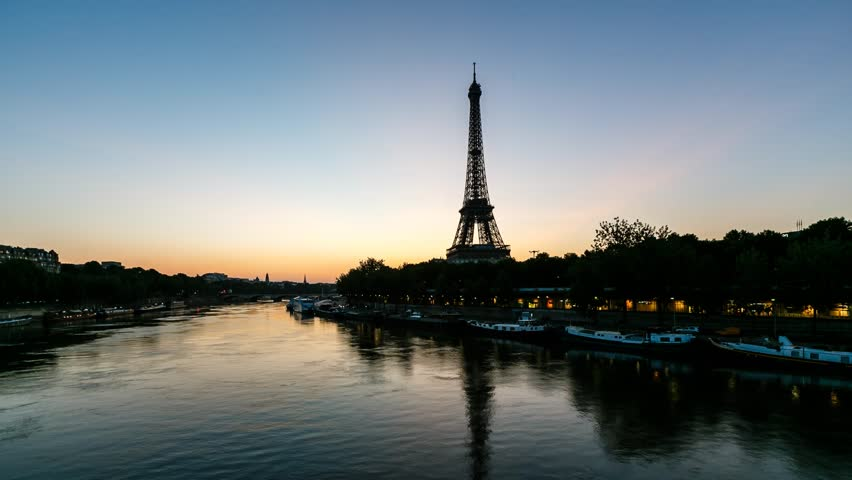 Sunrise at Eiffel Tower and Seine River, Timelapse Video, Paris, France