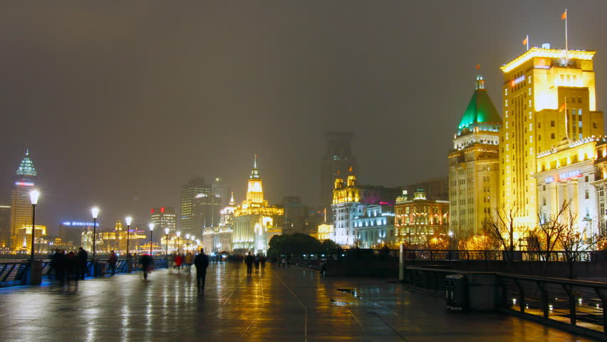 The Bund Shanghai at night.. Shanghai, China.