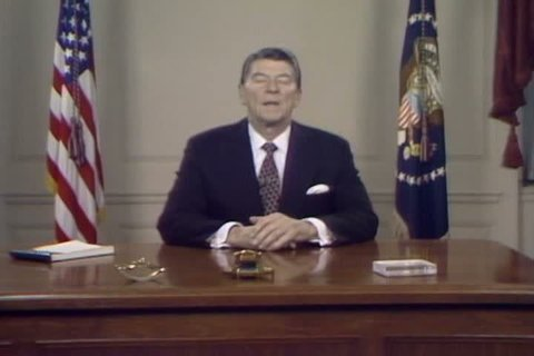 1980s - President Ronald Reagan delivers a speech in support for the protest movement of 1980s Poland