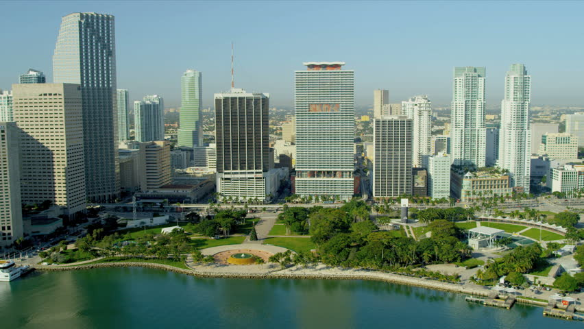 Stock video of miami - december 2012: aerial view ...