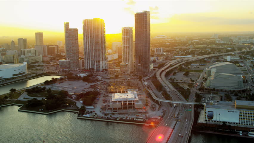 Miami - December 2012: Aerial view American Airlines Arena home to Miami Heat Basketball Team, Miami, Florida, USA