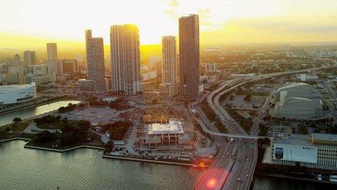 Miami - December 2012: Aerial view American Airlines Arena home to Miami Heat Basketball Team, Miami, Florida, USA