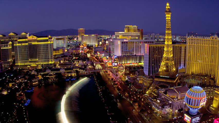 Illuminated Eiffel Tower nr illuminated Bellagio fountains, Las Vegas Blvd., USA | Shutterstock HD Video #4206559