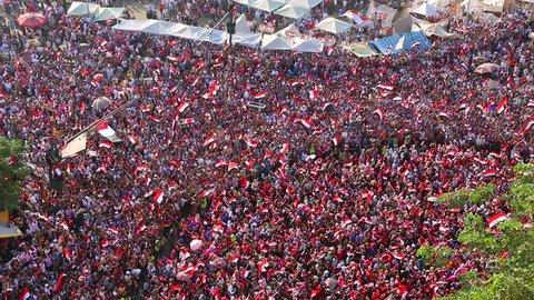 CAIRO, EGYPT - 2013: Protestors demonstrate in Cairo, Egypt