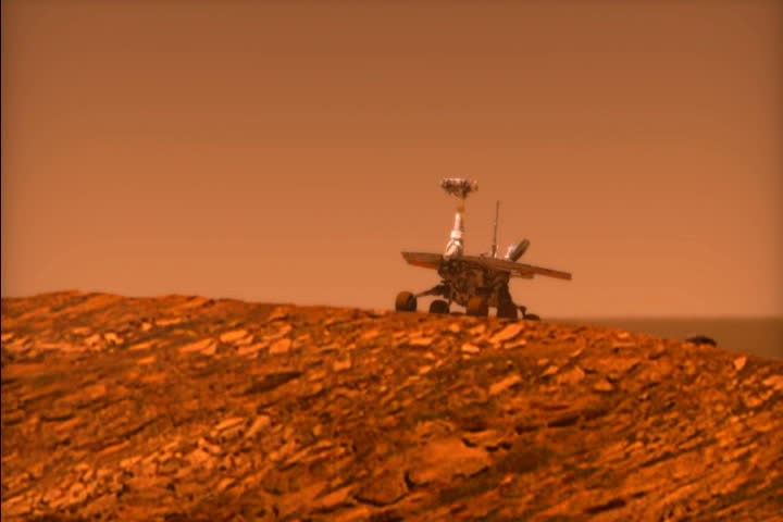 Mars rover Opportunity rolls into Endurance Crater. Animation. | Shutterstock HD Video #4217383