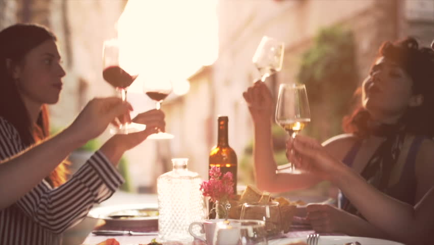 Friends raising wine glasses to make a toast and drinking wine, Slow motion | Shutterstock Video #4227250