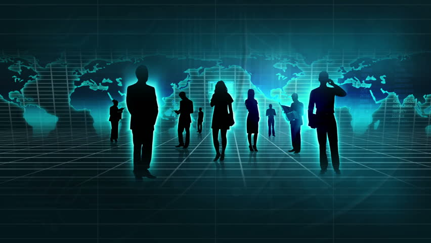 Montage 3D professional business people in silhouette communicating worldwide using modern wireless technology