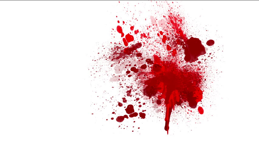 Red blood on white background