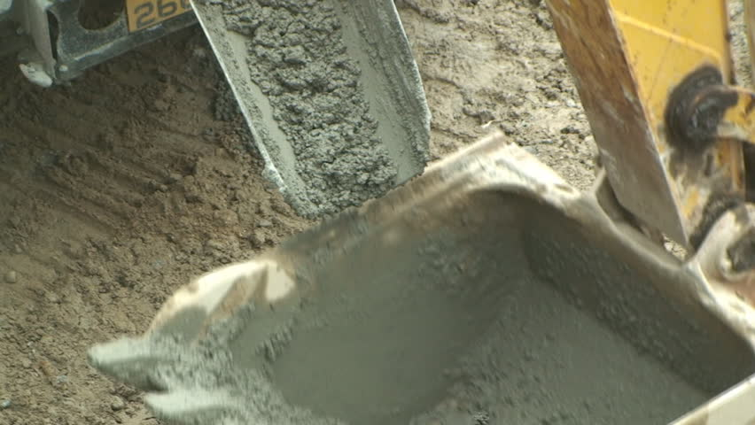 Concrete poured into scoop