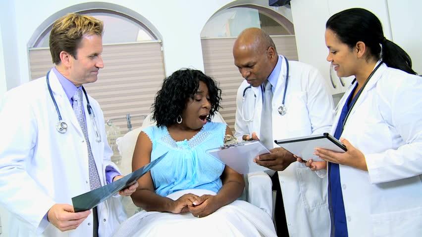 Multi Ethnic Male Radiologists Hispanic Nurse Showing Senior Ethnic Female Latest X -6021