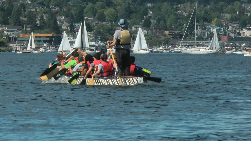Dragon boat and paddlers | Shutterstock HD Video #4360262