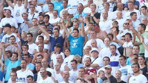 RIJEKA, CROATIA JULY 28: soccer fans on derby soccer match NK Rijeka (white) vs. NK Dinamo (blue) on July 28, 2013 in Rijeka