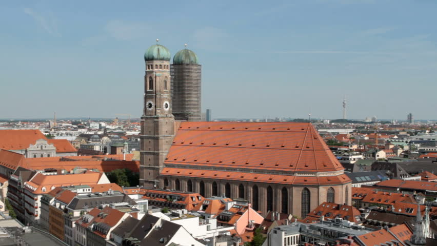 Aerial view on the Munich Frauenkirche, famous landmark cathedral of the city.