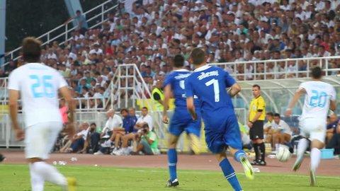 RIJEKA, CROATIA JULY 28: soccer derby match NK Rijeka (white) vs. NK Dinamo (blue) on July 28, 2013 in Rijeka.