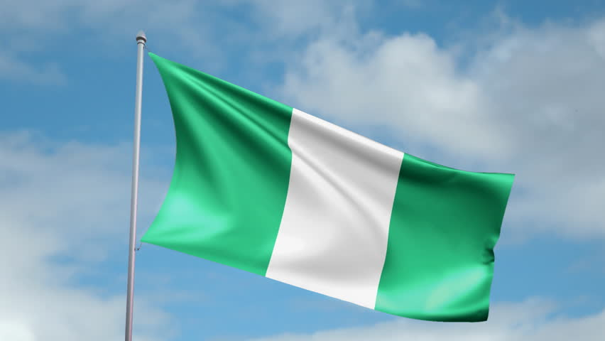 hd 1080p clip of a slow motion waving flag of nigeria. seamless