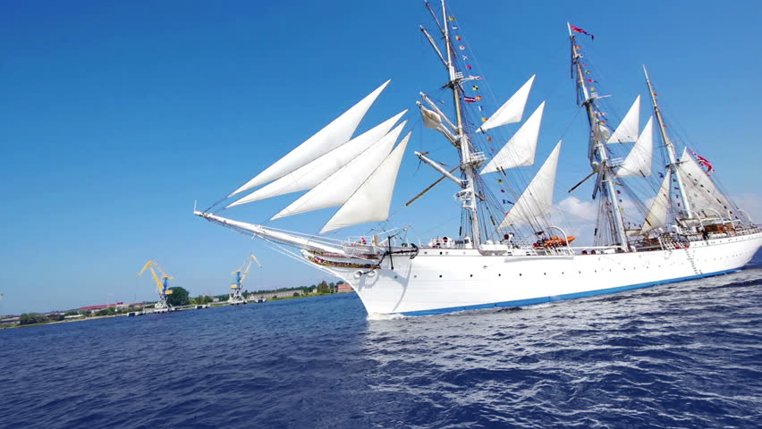 HD - Beautiful white Sailboat. Wide angle view