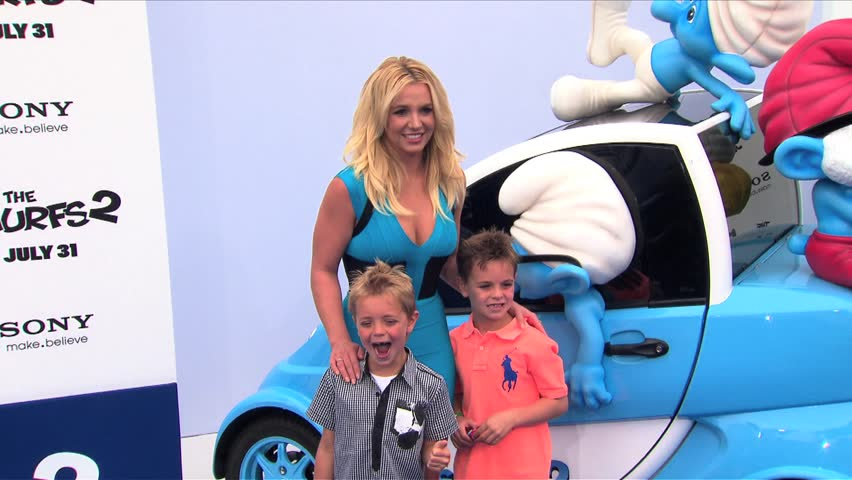 LOS ANGELES - July 28, 2013: Britney Spears and Sean Federline and Jayden James Federline at the Smurfs 2 Premiere in the Village Theatre in Los Angeles July 28, 2013