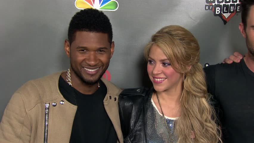 WEST HOLLYWOOD - May 8, 2013: Shakira, Usher Raymond, Adam Levine, Blake Shelton at the The Voice Season 4 Live Performance in the House of Blues West Hollywood in West Hollywood May 8, 2013