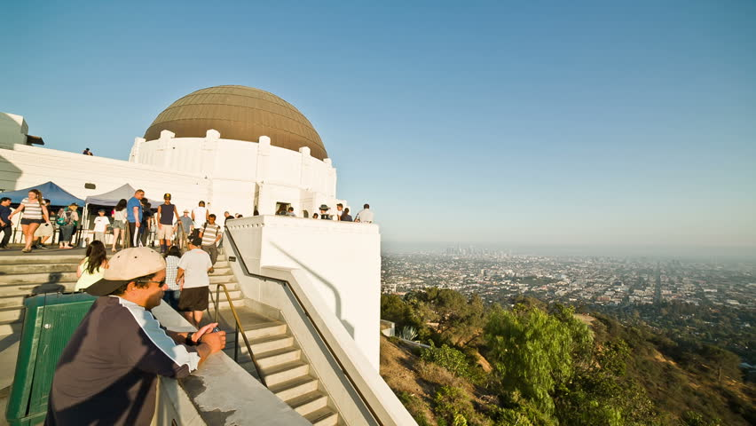 LOS ANGELES - AUGUST 15: tourists at Griffith Observatory on August 15, 2013 in Los Angeles. Griffith Observatory is a facility on the south-facing slope of Mount Hollywood in Griffith Park.