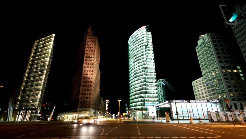 Berlin - Potsdamer Platz at night - Time Lapse